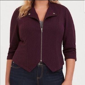 Torrid Checkered Texture 3/4 ZIP Jacket / Blazer